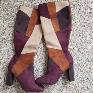 Multi colored heeled boots